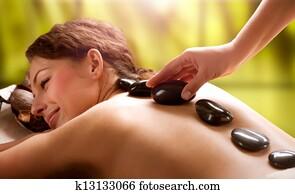 heilbad, salon., stein, massage., dayspa