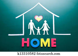 Home word and family in house