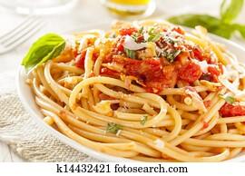 Homemade Bucatini Amatriciana Pasta
