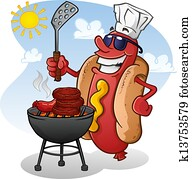 Hot Dog Cartoon Character Grilling