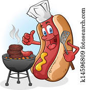 Hot Dog Cartoon Grilling On A Barbecue