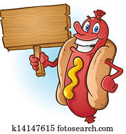 hot dog, karikatur, halten, holzvorzeichen