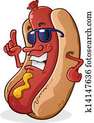 hot dog, karikatur, tragende sunglasses