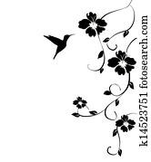 humminbird and flowers