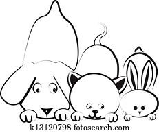 hund, katz, und, kanninchen, logo