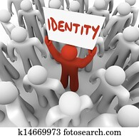 Identity Man Holding Sign Unique Brand Status Awareness