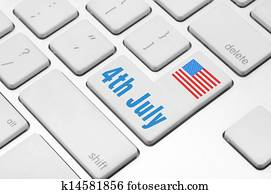 Independence day on the computer keyboard