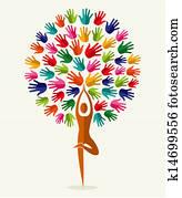 India yoga hands tree