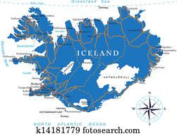 island, landkarte