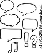 Isolated Vector Ink Speech Bubbles