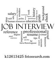 Job Interview Word Cloud Concept in Black and White