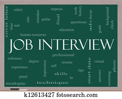 Job Interview Word Cloud Concept on a Blackboard