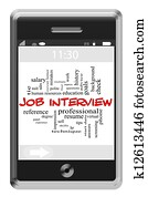 Job Interview Word Cloud Concept on Touchscreen Phone
