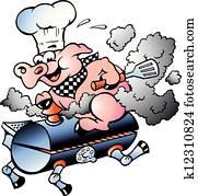 küchenchef, schwein, reiten, ein, grillspass, fass