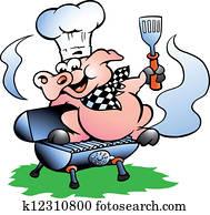 küchenchef, schwein, stehen, auf, a, grillspass, fass