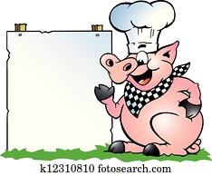küchenchef, schwein, stehen, und, zeigen