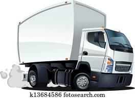 karikatur, auslieferung, /, fracht lastwagen