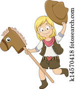 Kid Cowgirl with Toy Horse