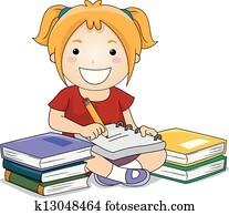 Kid Girl Writing