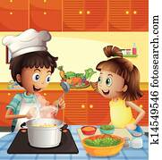 Kids cooking at the kitchen