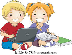 Kids using Laptop to Study