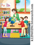 Kindergarten teacher and students