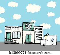 klinikum, und, krankenwagen