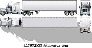 kommerziell, halb-lastwagen