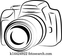 kontur, fotoapperat, zeichnung
