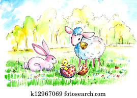 Lamb and bunny