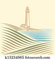 landscape with sea and Lighthouse