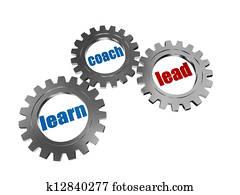 learn, coach and lead in silver grey gearwheels