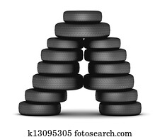 Letter A from stacked tire