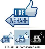 Like and Share Thumbs Up