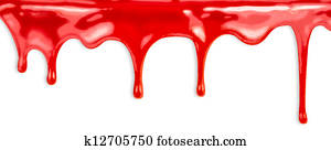 liquid red paint dripping on white background