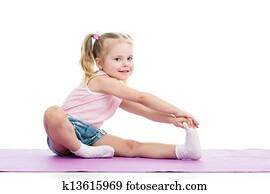 Image Of Flexible Little Girl Doing Vertical Split Stock