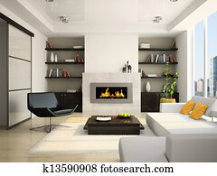 Living-room with fireplace