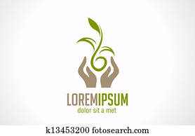 Logo Hands holding plant abstract icon. Green concept.