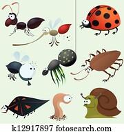 lustig, insekt, satz