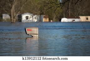 Mailbox in flood water