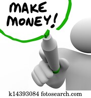Make Money Man Writing Words Teaching Success to Get Rich