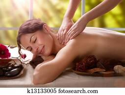 massage., heilbad, salon