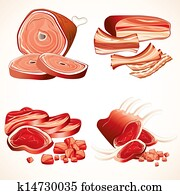 Meat Set. Ham, Gammon, Bacon, Ribs, Steaks Icons