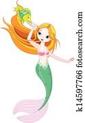 Mermaid feeding the fish