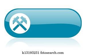 mining blue web glossy icon