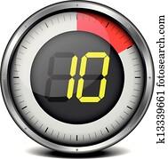 Clipart vecteur incandescent num rique compteur - Minuteur 10 minutes ...