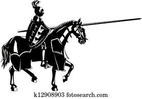 mittelalterlich, ritter, auf, pferderücken