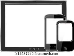 Modern realistic digital tablet PC with smart phone on white background
