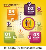modernes, infographic, schablone, für, mitarbeitergruppe, arbeit