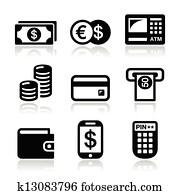 Money, atm - cash mashine icons